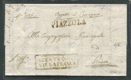 1837  RARA PREFILATELICA    DA PIAZZOLA   X VILLAFRANCA   PADOVA  INTERESSANTE TESTO   PUNTI 9 - 1. ...-1850 Prefilatelia