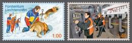 lie2130330 Liechtenstein 2013 Voluntary Civil Protection Work Avalanche rescue-dog handler Red Cross 2v Michel Nr.1665-6