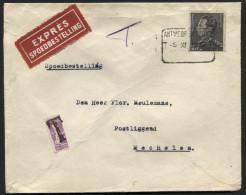 DEMI timbre-poste 20c Petit Sceau s/ lettre par expr�s 2,45fr Poortman obl. bilingue gratt�e ANTWERPEN ZUID/T.T. 5/11/38
