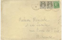 Oblitération  Mirande Gers  Sur Lettre De 1936 Sur Timbres  10c  & 80 C - Lettres & Documents