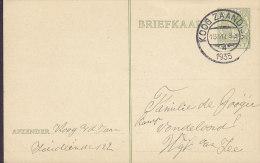 Netherlands Postal Stationery Ganzsache Entier 5 C Wilhelmina Deluxe Railway Station KOOG ZAANDIJK 1935 (2 Scans) - Postal Stationery