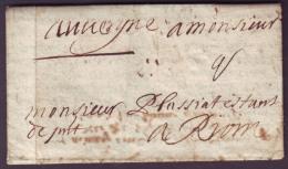 PUY De DOME - LAC - Lettre De RIOM (18-7-1674) + Taxe 2 Pour Riom (62) - Marcophilie (Lettres)