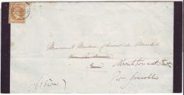 RHONE - LSC - Tàd T15 LYON  Sur N° 28 (imprimé) Pour Château De Vors Réexpédiée à Mont Bonnat St Martin (37) - 1849-1876: Klassik