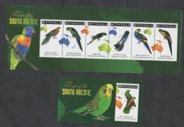 TUVALU ,2011,MNH, BIRDS, PARROTS, SHEETLET +S/SHEET - Parrots