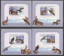 MDB-BK2-046 LUX MINT PF/MNH ¤ GUINEE BISSAU 2008 4xBLOCK IMPERFORATED (RARE) ¤ BIRDS OF PREY AVES OISEAUX BIRDS - Aigles & Rapaces Diurnes