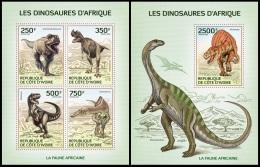 ic14106ab Ivory Coast 2014 Dinosaurs 2 s/s