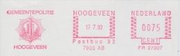 NEDERLAND :1990: Red Postal Metermark On Fragment:## Gemeentepolitie HOOGEVEEN #:POLITIE,POLICE,HERALDRY,ARMS,ARMOIRIES, - Armoiries