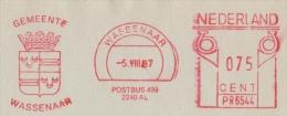 NEDERLAND :1987: Red Postal Metermark On Fragment : ## Gemeente WASSENAAR # : HERALDRY,ARMS,ARMOIRIES,BLASON,KROON,CROWN - Armoiries