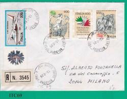 ITALIA, 1985, Busta Viaggiata Affrancata Con Striscia Esposizione Mondiale Filatelia Più Aerei Partenavia Con Bandella - 1981-90: Storia Postale