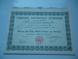 CIMENTS ARTIFICIELS D´ORANIE (capital 770 Millions) ORAN-ALGERIE - Shareholdings