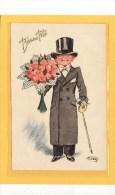 ILLUSTRATEURS / ILLUSTRATEUR HENRY / Enfant Gentleman Au Bouquet De Fleurs / Bonne Fête - Illustrateurs & Photographes