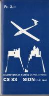 Programme - Championnat Suisse De Vol à Voile - CS 83 Sion - Avion