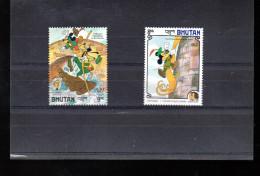 BHOUTAN 709 ET 710** SUR LES ANNIVERSAIRES DES FRERES GRIMM ET DE MARK TWAIN AVEC PERSONNAGE DE DISNEY - Bhután