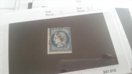 LOT 221219 TIMBRE DE FRANCE OBLITERE N�4 VALEUR 45 EUROS