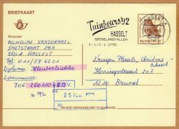 Carte Entier Postal Oiseau Buzin Hasselt X  à Brussel + Flamme - Ganzsachen