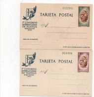 2 Postales 1960 , 70cts + 3 Pts , Congreso Filatelia Barcelona - 1931-....