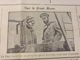JOURNAUX DE GUERRE 20 AVRIL 1916 AÉROPLANE GÉANT Igor SIKORSKY ET LE TSAR / TREBIZONDE / GALICE - Journaux - Quotidiens