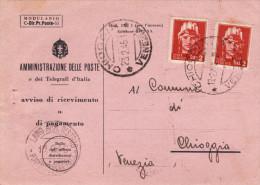 MILANO  23.2.1946  /   CHIOGGIA -  Avviso Di Ricevimento _  Imperiale S.F. Lire 2 X 2 - Storia Postale