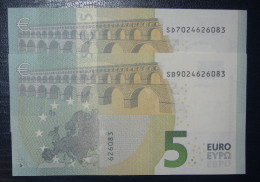 2x 5 EURO S001 SD+SB Nine Equal Numbers ITALY  ITALIA Draghi Perfect UNC - EURO
