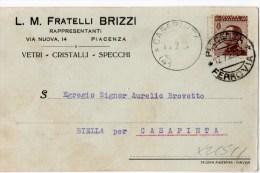 CARTOLINA POSTALE PUBBLICITAIA-PIACENZA-12- 7-1929-DITTA FRATELLI BRIZZI-VETRI CRISTALLI-SPECCHI-REGNO CENT.40