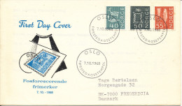 Norway FDC 7-10-1968 New Regular Issues Fluorescent With Cachet Sent To Denmark - FDC