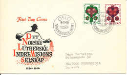 Norway FDC 16-9-1968 Complete Set Home Mission With Cachet Sent To Denmark - FDC