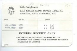 "FACTURE: Hotel "" The Grosvenor Hotel Limited "" à Adelaide - Australia"