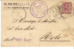 ING. GUIDO BORDI VIA S. SALVATORE PIACENZA  VIAGGIATA 1906
