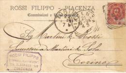 ROSSI FILIPPO COMMISSIONI E RAPPRESENTANZE PIACENZA  VIAGGIATA 1894