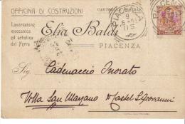 E. BALDI OFFICINA DI COSTRUZIONE PIACENZA LAVORAZIONE MECCANICA E ARTISTICA DEL FERRO  VIAGGIATA 1905
