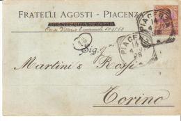 F.LLI AGOSTI PIACENZA CORSO VITTORIO EMANUELE  VIAGGIATA 1902
