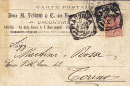 DITTA A. FELLONI E C. DEI F.LLI QUADRELLI DROGHERIA PIACENZA VIA S.TA FRANCA VIAGGIATA 1909