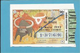 LOTARIA NACIONAL - 20.ª ESP. - 15.05.1992 - ZODÍACO - SIGNO - TAURUS - TOURO - CAMPINO - Portugal - 2 Scans Descrip - Lottery Tickets