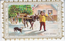 VICTORIAN  ERA  1870's   CHRISTMAS  CARD    COLOR  PADDED  CENTER  GILT  FINISH - Mechanical