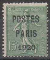 France - Timbres Préoblitérés - Type Semeuse Lignée - N° 25 Neuf Avec Charnière. Signé. - Precancels