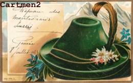 CHAPEAU DES MONTAGNARDS SUISSES FOLKLORE COSTUME ILLUSTRATEUR CARTE GAUFREE 1900 - Costumi