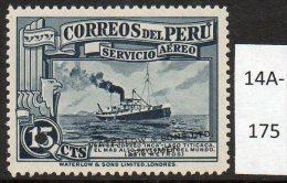 ** Peru 1936 15c Airmail Ferry / Mail Ship ´Inca´ Waterlow Specimen / Proof U/m - Peru