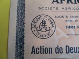 Action De 2 500 Francs Au Porteur/ Afrique Et Congo /Sté Agricole, Commerciale & Industrielle   / 1923   ACT65 - Industrie