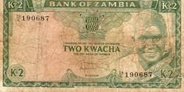 Zambie P20 - 2 Kwacha ND 1974 Signé Kuwani - Beaucoup Circulé, Petite Déchirure Sans Manque - (BNB BOZ B20) - Zambia