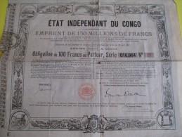 Obligation De 100 Francs Au Porteur /Etat Indépendant Du Congo /1888   ACT72 - Mineral