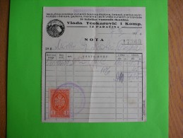 R!,history Document,advertising Receipt,wool Industry,Vlada Teokarovic Company,Paracin Serbia,textile Factory, Tax Stamp - Other