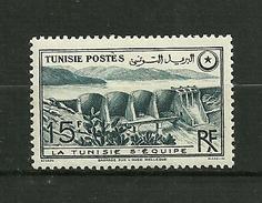 """TUNISIE 1949   N°330  """" Barrage Sur L'Oued Mellegine """"    Neuf Avec Trace De Charnière - Neufs"""