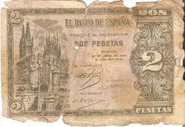 BILLETE DE ESPAÑA DE 2 PTAS  DEL AÑO 1938 SERIE L CALIDAD RC  (BANKNOTE) (rotura) - 1-2 Pesetas