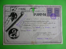 R!,history Document,advertising Bill,chimney Sweeper Company,Andra Trifunovic,Belgrade,Serbia,Yugoslavia Tax Stamps,rare - Other