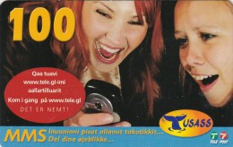Greenland, PRE-GRL-10011, 100 Kr, 2 Girls, Whaletail, 2 Scans   Expiry 17-05-2009. - Groenland