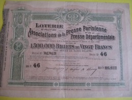 Loterie/Billet De 20 Francs/ Associations De La Presse Parisienne Et De La Presse Départementale /1905   ACT77 - Cinéma & Theatre