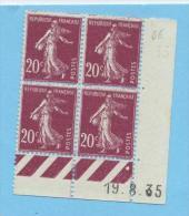 Semeuse 20 C. Rose En Bloc De 4 Coin Daté - 1906-38 Semeuse Camée
