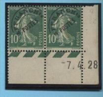 Semeuse 10 C. Vert En Paire Préoblitéré 51 Avec Coin Daté - 1906-38 Semeuse Camée