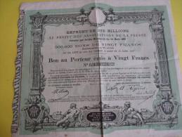 """Emprunt/ Bon Au Porteur émis à 20 Francs / """"Associations De La Presse / 1887  ACT83 - Industrie"""