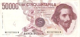 BILLETE DE ITALIA DE 50000 LIRAS DEL AÑO 1984 DE LORENZO BERNINI (BANKNOTE) DIFERENTES FIRMAS - [ 2] 1946-… : República